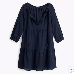 NWT J. Crew Tiered Beach Tunic In Navy Crinkled